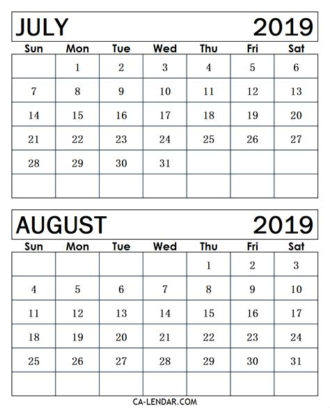 Blank Calendar July And August 2019