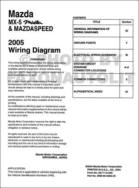 2005 mazda mx 5 miata mazdaspeed wiring diagram manual