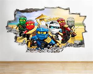 h986 lego ninjago toys tv kids smashed wall decal 3d art With coolest ninjago wall decals