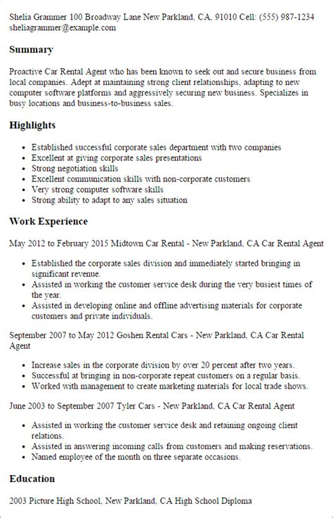 car rental agent resume templates