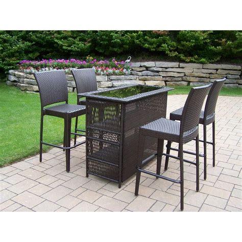 oakland living elite resin wicker 5 piece patio bar set