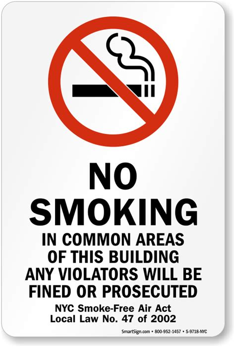 smoking nyc smoke  air act law sign sku   nyc
