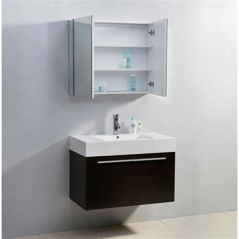 Abodo 36 Inch Wall Mounted White Bathroom Vanity