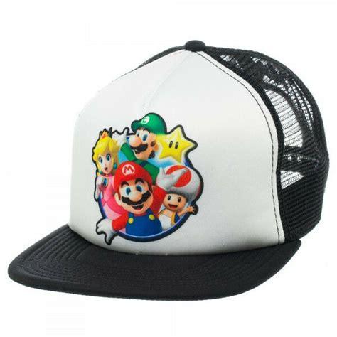 nintendo super mario bros snapback hat mens mesh
