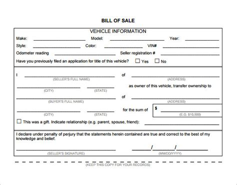 Bill Of Sale Template 40 Free Word Excel Pdf