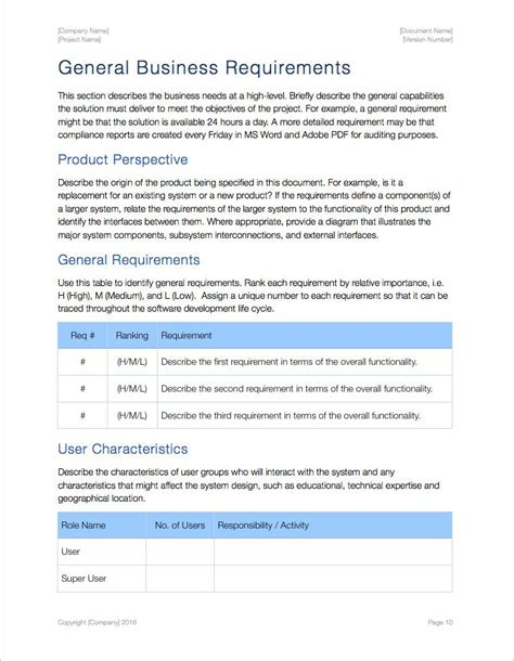 business requirements template apple iwork pagesnumbers