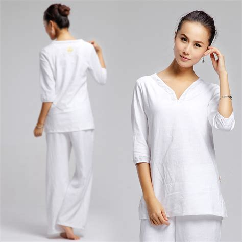 White Womenu0026#39;s Kundalini yoga clothes set long yoga pants sleeve spring and summer hot on ...