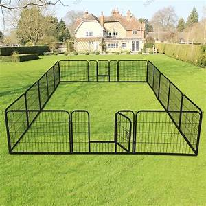 16 panel heavy duty metal cage crate pet dog cat fence With dog crate fence