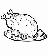 Chicken Coloring Cooked Fried Pages Roast Drawing Line Roasted Drumstick Potato Nugget Rice Drawings Meat Plate Tasty Potatoes Getdrawings Template sketch template