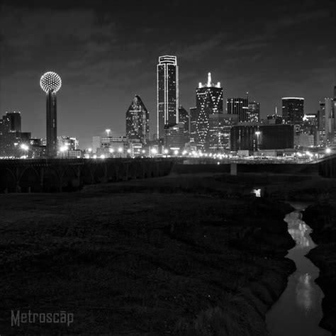 black  white picture  dallas skyline  night