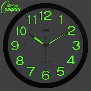 14 inch glow in the dark wall clock modern design with for Glow in the dark digital wall clock