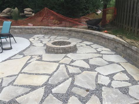 backyard makeover edwardsville pit and flagstone patio