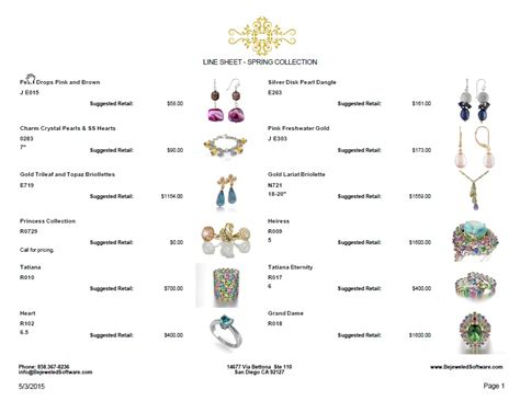 jewelry line sheet sell jewelry line sheets price lists invoices
