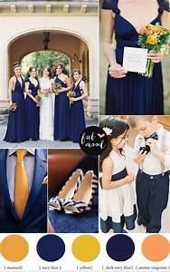 Orange Navy blue and mustard yellow wedding colour palette