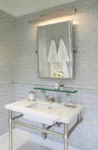 light blue subway tile bathroom gray glass subway tile backsplash design ideas