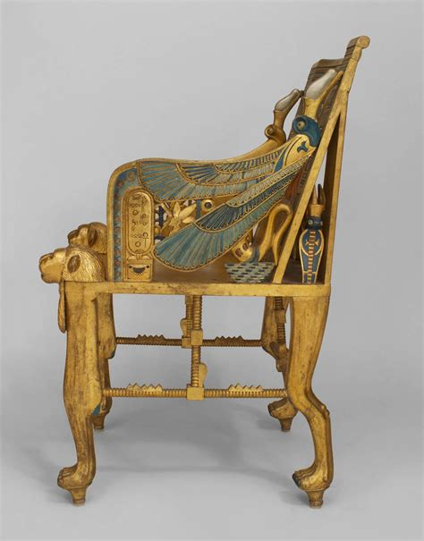 late   egyptian revival polychrome carved throne