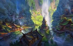 Wallpaper, Fantasy, Forest, River, Trees, Landscape, Water