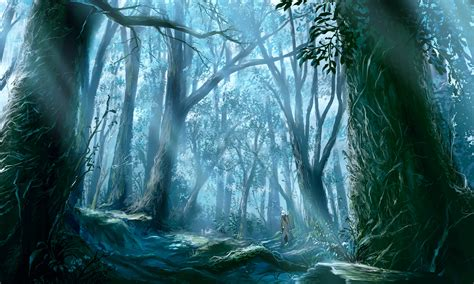 forest nature zerochan anime image board