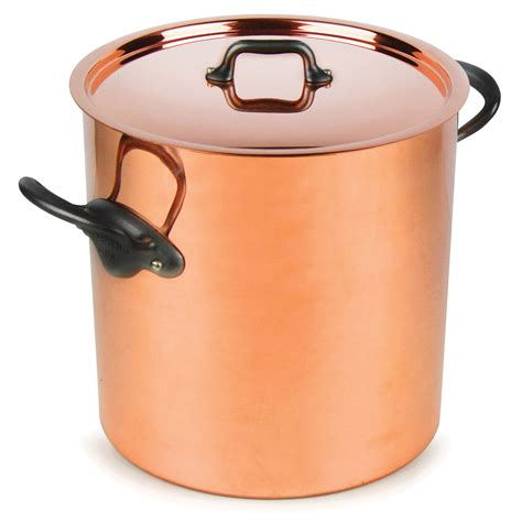 mauviel mheritage  tin lined tall copper stockpot  quart cutlery