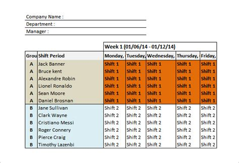 Shift Schedule Templates  12+ Free Word, Excel, Pdf