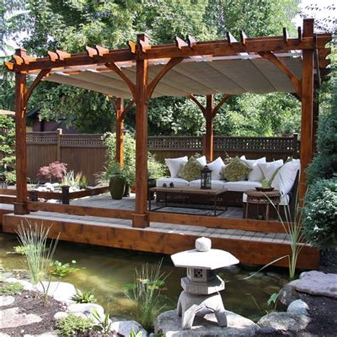 outdoor living today  ft   ft cedar breeze pergola  retractable canopy lowes canada