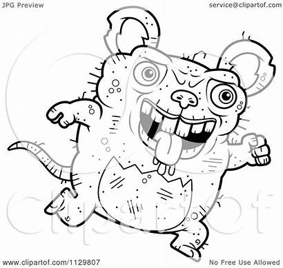 Rat Ugly Running Cartoon Clipart Coloring Outlined