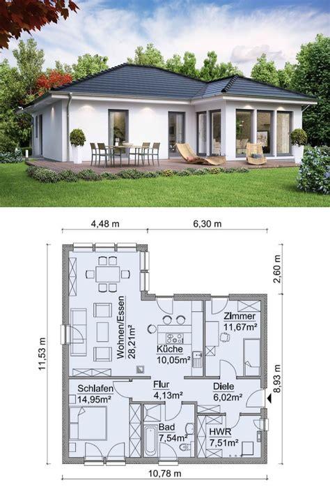 Haus Bauen Ideen Grundriss by Bungalow Haus Modern Ebenerdig Mit Walmdach Architektur
