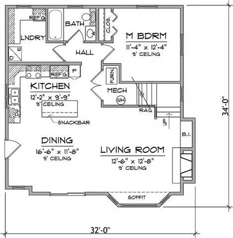 3 bedroom cabin floor plans three bedroom cabin hwbdo73584 bungalow house plan from builderhouseplans