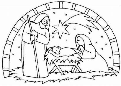Jesus Nativity Birth Coloring Scene Pages Drawing