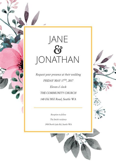 floral splash wedding invitation template wedding