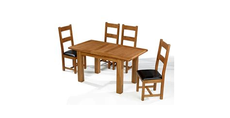 emsworth oak 120 150 cm extending dining table and 4