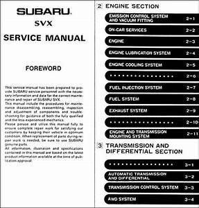 1992 Subaru Svx Repair Shop Manual Original 6 Sections  4