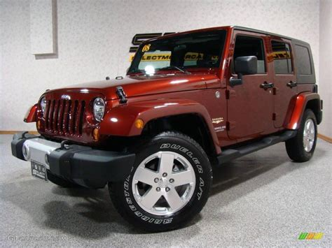 jeep sahara red 2008 red rock crystal pearl jeep wrangler unlimited sahara