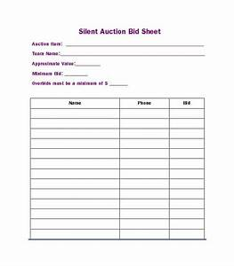 40 silent auction bid sheet templates word excel With bid sheets for silent auction template