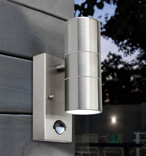 pir stainless steel up down outdoor wall light with