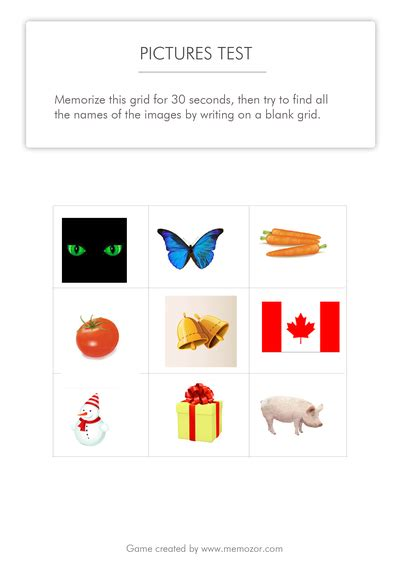 memory test printable memory test pictures grid 2 free test