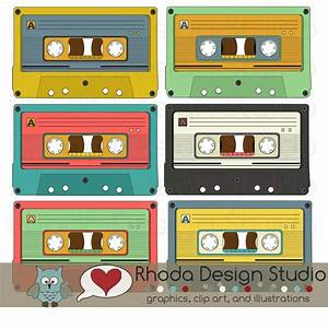 Retro Cassette Tapes Colored Images Digital Clip Art ...