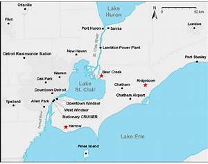 b. Map of the southern Great Lakes region showing the ...