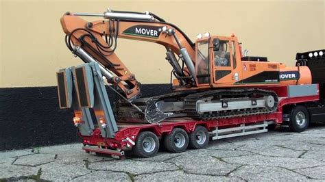 rc volvo truck transports excavator youtube