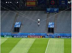 Ali Khaseif Al Jazira kicks the ball into the SpiderCam