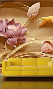3D Lotus Flower Wood Carving Photo Wall Mural Custom Sizes ...