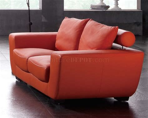 Orange Top Grain Leather Modern Sofa Woptional Chair