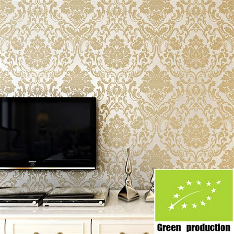 Modern European Gold Wallpaper For Walls 3d Flock Printing