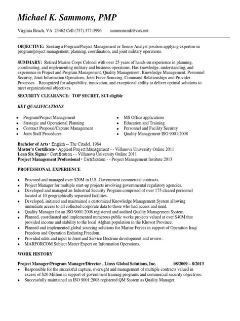 project manager contracts analyst in norfolk va resume