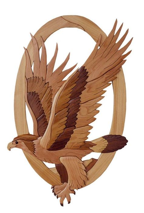 intarsia woodworking pattern eagle
