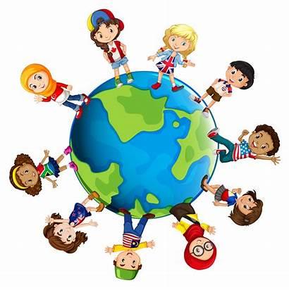 Countries Different Children Vector Around Illustration Clipart