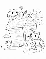 Dog Coloring Pages Puppy Printable Museprintables Template Colouring Snoopy Preschool Sketch Draw Olds Printables Cute sketch template