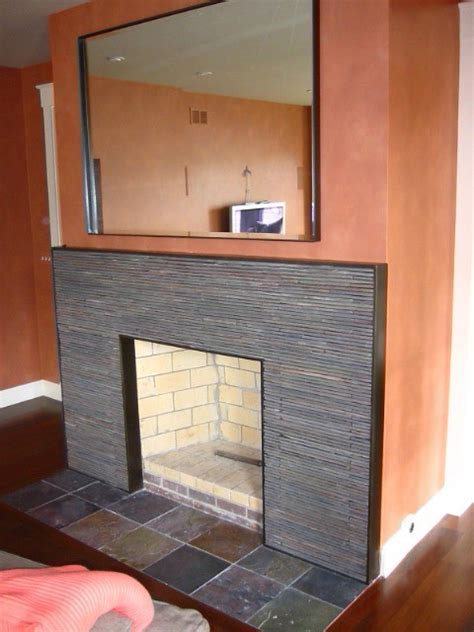 contemporary fireplace surround stacked slate   steel
