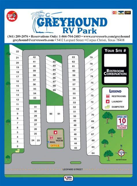 Greyhound Rv Park Park Layout  Corpus Christi Rv Resorts