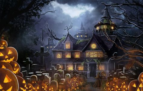 wallpaper house anime pumpkin halloween prazdnik